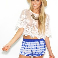 West Coast Wardrobe Maria Chrochet Top in White