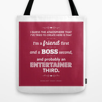 The Office Michael Scott Quote Season 1 Episode 1 - Friend First - Burgundy & White Tote Bag by Noonday Design