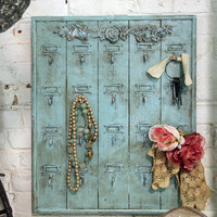 Painted Cottage Chic Shabby Aqua Hotel Key Holder VF256
