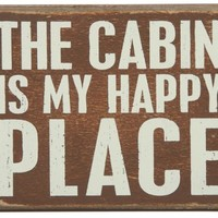 """Distressed Box Sign- For Lake or Cabin- """"The Cabin Is My Happy Place"""""""