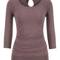 3/4 sleeve pullover with keyhole