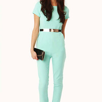 Mavis Short Sleeved Tailored Jumpsuit With Gold Metal Waistband in Mint
