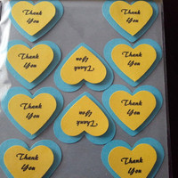 "heart shape ""thank you"" label."