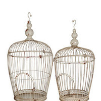 Antiqued Decorative Cream Wire Birdcage Wedding Store Window Display