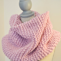 Blossom Pink Knit Cowl - Ready to Ship - Chunky, Pink, Fall Infinity Scarf