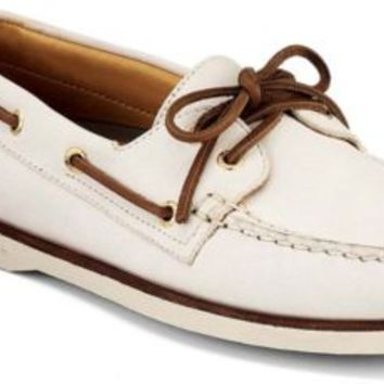 Sperry Top-Sider Gold Cup Authentic Original 2-Eye Boat Shoe IvoryLeather, Size 9M  Men's…