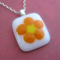 Wild Flower - White, Orange Fused Glass Pendant, Petite Fused Glass Necklace - tt team 3562