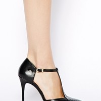 River Island Black T Bar Pumps