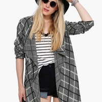 Chessboard Long Sleeve Cardigan
