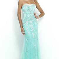 Long Strapless Lace Dress by Blush