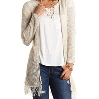 Aztec-Stitched Fringe Duster Cardigan by Charlotte Russe - Warm Taupe