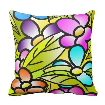 funky tropical floral throw pillow