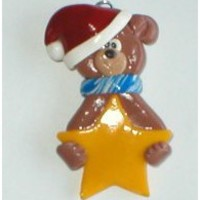 Handcrafted Polymer Clay Personalized Teddy Bear Christmas