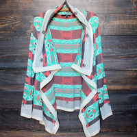 cozy bonfire knit cardigan sweater weather | aqua oversized knitted southern southwestern tribal aztec print boho bohemian gypsy mod modern