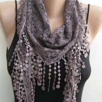 Lace scarf, taupe gray lace scarf, summer scarf, handmade frilly scarf, lace fashion