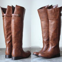Rider's tall distressed riding boots - cognac