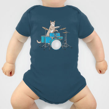 Cat Playing Drums - Blue Onesuit by Ornaart