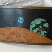 Rare 1970s Kenneth Reid Wood, brass and Turquoise Inlay Belt Buckle. Planets, Stars and Moon.