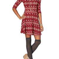 Fair Isle Surplice Back Sweater Skater Dress