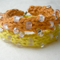 Citrus Yellow Orange Bracelet Set / Summer Boho Style / Beach Inspired