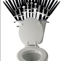 Game of Thrones Iron Throne inspired Toilet Sticker Funny Sword Toilet Decal or Bathroom Wall Sticker