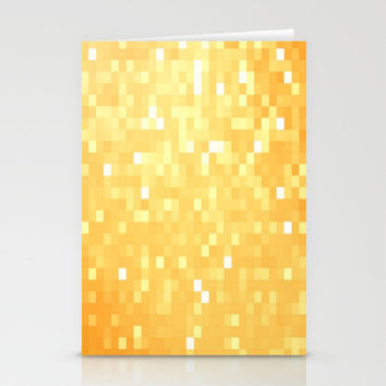 Golden Pixel Sparkle Stationery Cards by 2sweet4words Designs