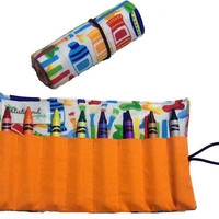 Art Class Crayon Roll-Up with crayons