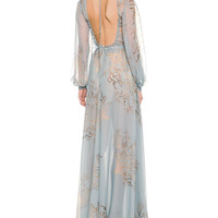 Open-Back Coral-Print Silk Chiffon Gown