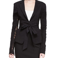 Lace-Detail Belted Blazer and Straight-Leg Pull-On Trousers