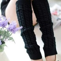 Adorox New Women Ladies Winter Warm Leg Warmers Cable Knit Knitted Crochet Long Socks