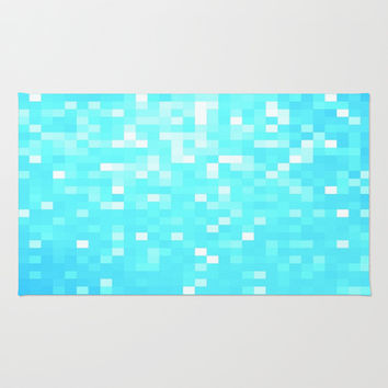 Turquoise Pixel Sparkle Area & Throw Rug by 2sweet4words Designs
