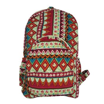 CrazyPomelo Fashion Gothic Print Travel Cloth Backpack Red