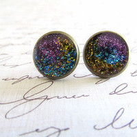 Purple Galaxy Stud Earrings
