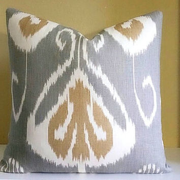 Kravet Pillow Cover Gray and Khaki, Pick Your Pillow Size