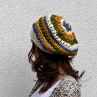 slouchy beanie hat beige lime green yellow blue stripes