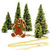 Gingerbreadman Necklace,Plexiglass Necklace,Lasercut Acrylic,Gifts Under 25