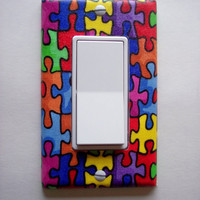 Autism Puzzle Pieces Rocker / GFI Switchplate
