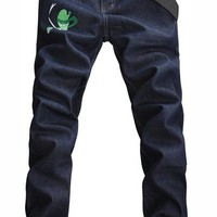 Men Dark Blue Straight Slim Fruit Ninja Printing S/M/L/XL/XXL/3XL/4XL@X304NH6S0N075
