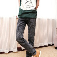 Men Straight Slim Grey Jean/Pants with small holes S/M/L/XL/XXL/3L/4L@X1707NH5S0K09