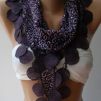 Purple / Scarf / Shawl....Elegant - Shawl with Lacy Edge...
