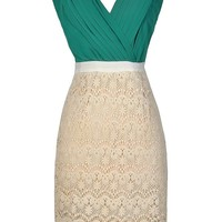 Lily Boutique Green and Beige Dress, Green and Beige Lace Dress, Green and Beige Lace Pencil Dress, Lace and Chiffon Pencil Dress, Cute Pencil Dress, Cute Lace Dress, Beige Lace Dress Lily Boutique