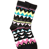 FOREVER 21 Geo Print Crew Socks Black/Pink One