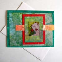 Tranquil - Notecard Made with Painted Papers and an Original Art Print