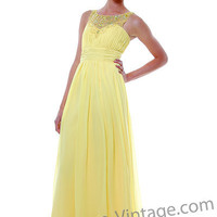 Yellow Chiffon Beaded Mock Sweetheart Empire Prom Dress-XS-2XL - Unique Vintage - Bridesmaid & Wedding Dresses