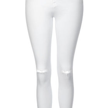 MOTO WINTER WHITE RIPPED LEIGH JEANS