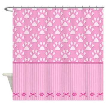 Stripes And Paws - Pink Shower Curtain> Shower Curtains> SpiceTree Gift Shop #pawprints #pink #dog #puppy #cute