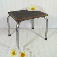 Mid Century Industrial Black Rubber and Chrome Foot Stool - Vintage Wooden Step Seat - Shabby Chic Wood & Metal Skid Proof Handy Booster