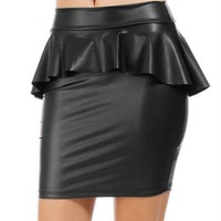 Black Liquid Peplum Skirt