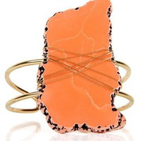 Wrapped Coral Stone Cuff Bracelet