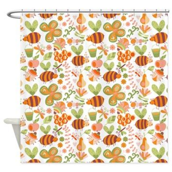 Busy Bees Garden Shower Curtain> Shower Curtains> SpiceTree Gift Shop